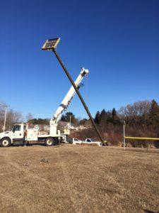 photo of osprey nesting platform going up