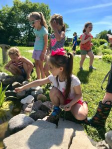 Little Wings campers exploring the butterfly garden